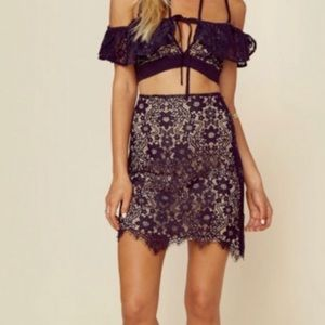 For Love and Lemons Rosemary scallop lace skirt S